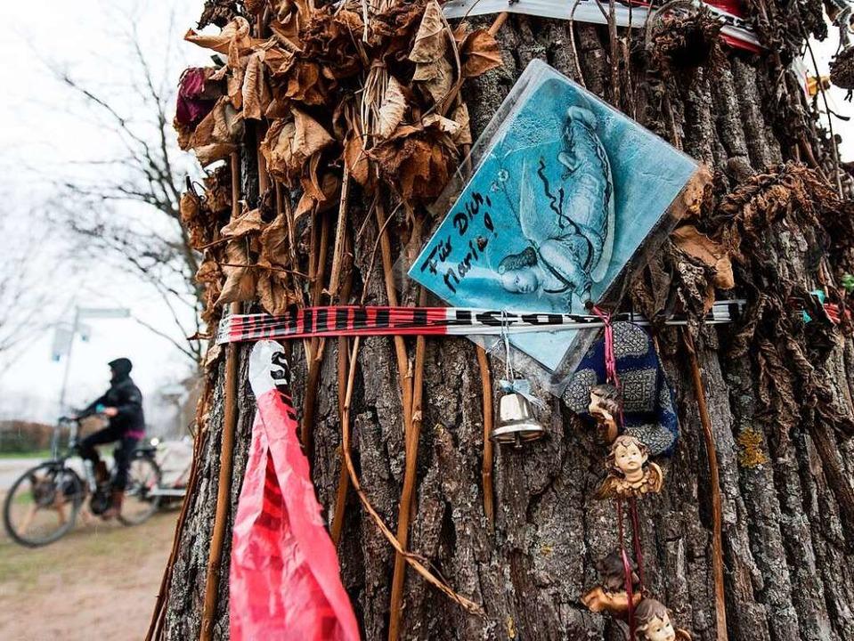 Noch hängen Blumen und Botschaften an einem Baum am Tatort an der Dreisam.  | Foto: dpa