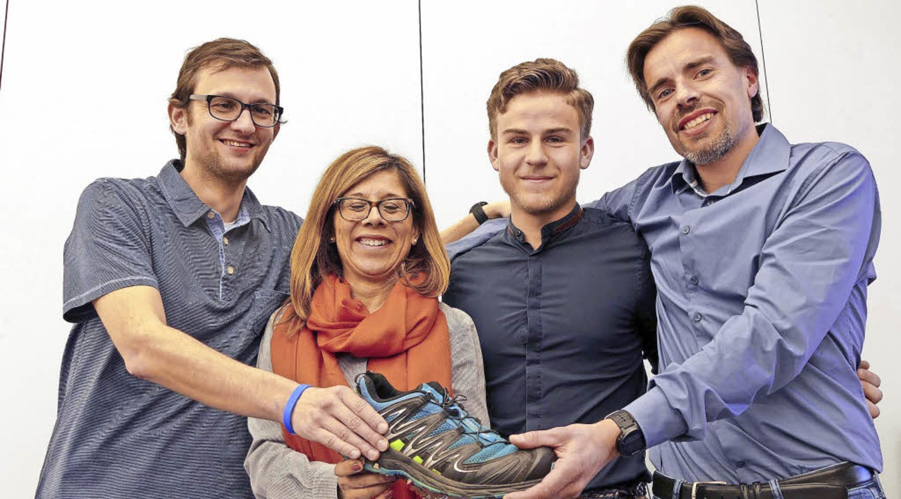 Die Organisatoren des Europa-Laufs  Ge...acor, der die Idee hatte (von links).   | Foto: Hirt/dpa