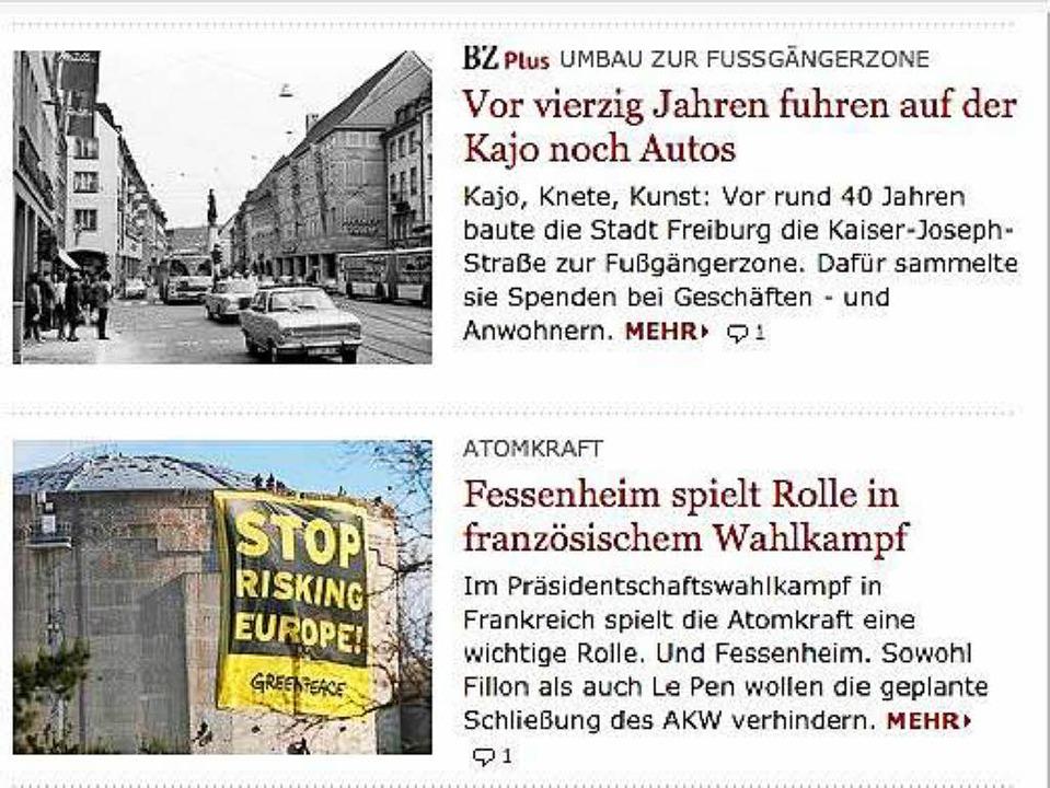 Auf der Startseite von Badische Zeitun...der Dachzeile eines Artikels angezeigt  | Foto: bz