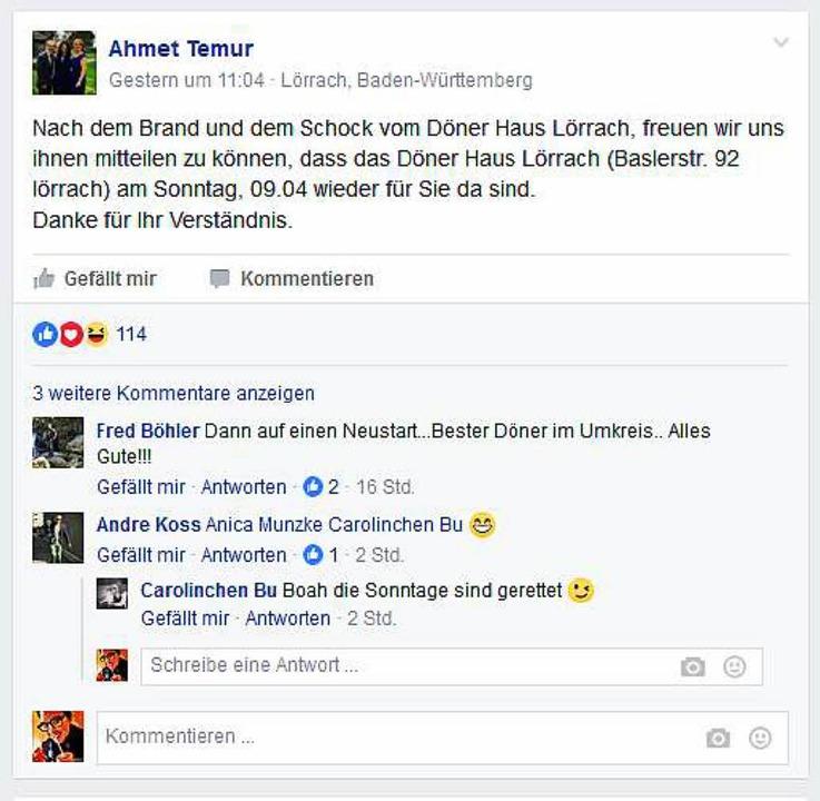 Auf Facebook kommt die Nachricht gut an.  | Foto: Dorothee Soboll (Screenshot)
