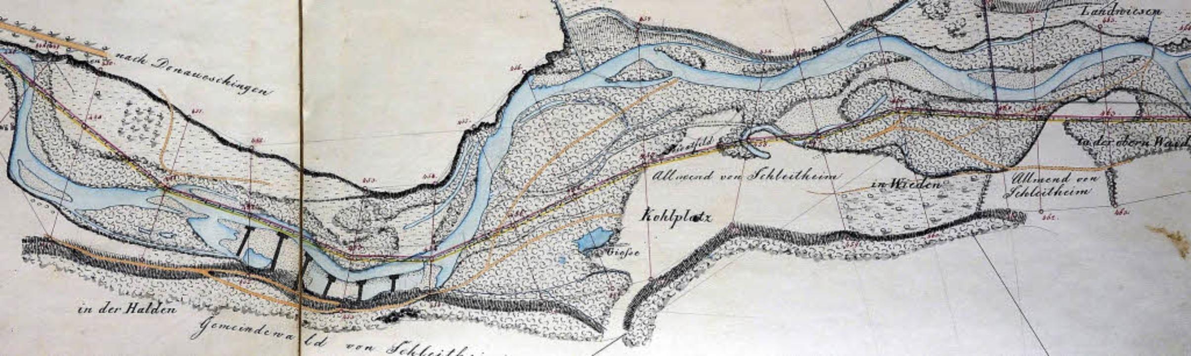 Karte des Wutachlaufes zwischen Weizen... Ehrenbaches mit dem damaligen Steg.      Foto:  Gemeindearchiv Schleitheim