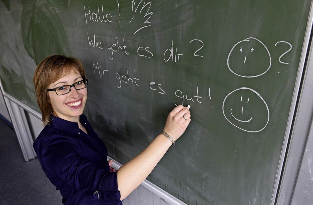 Inken Loebe hat im Laufe eines Jahres ...rsprache am besten Deutsch beibringt.     Foto: Ingo Schneider