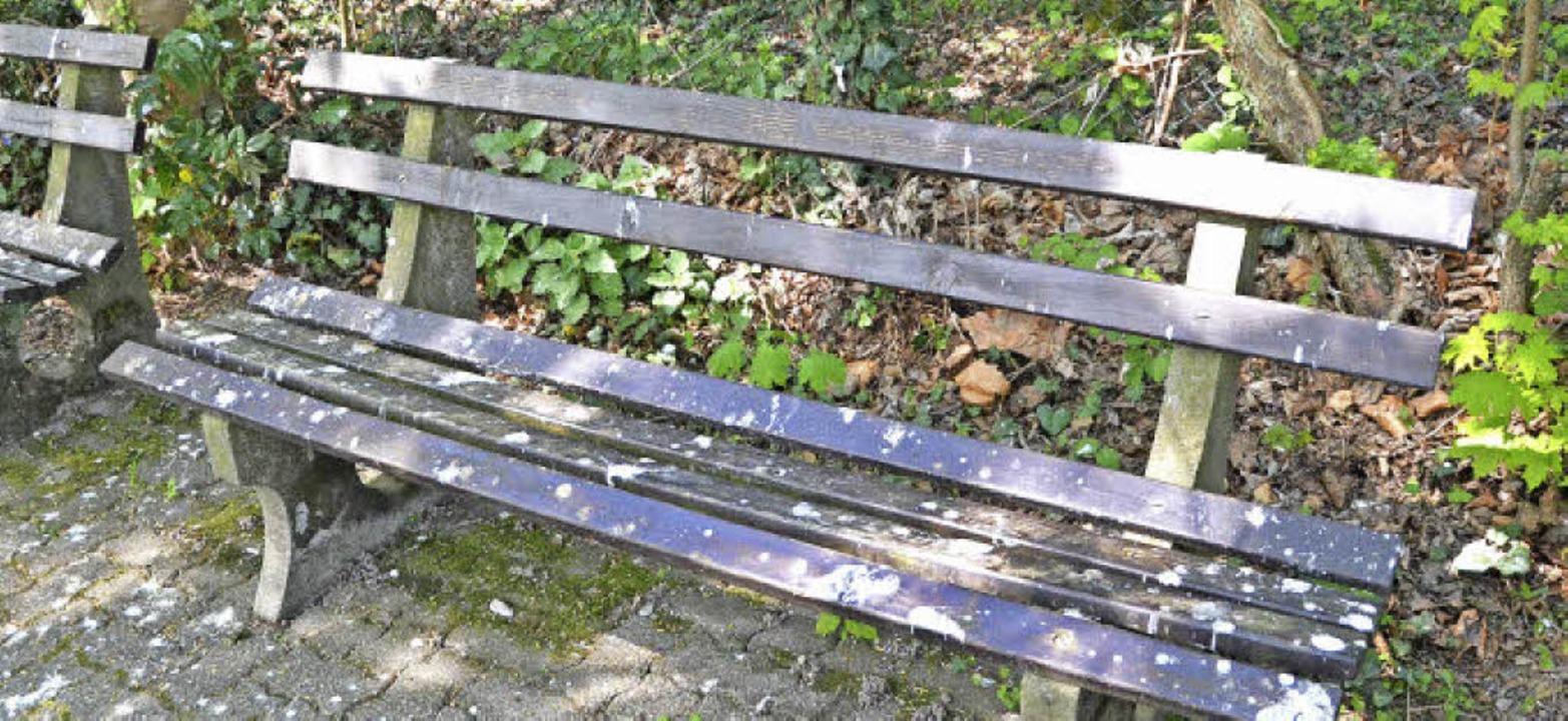 Von Saatkrähen zugekotete Sitzbank im Bad Krozinger Kurpark  | Foto: Sebastian Krüger