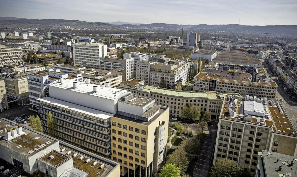 Das Klybeckareal vom Novartis-Hochhaus in der Südwestecke aus gesehen.     Foto: BASF/Novartis