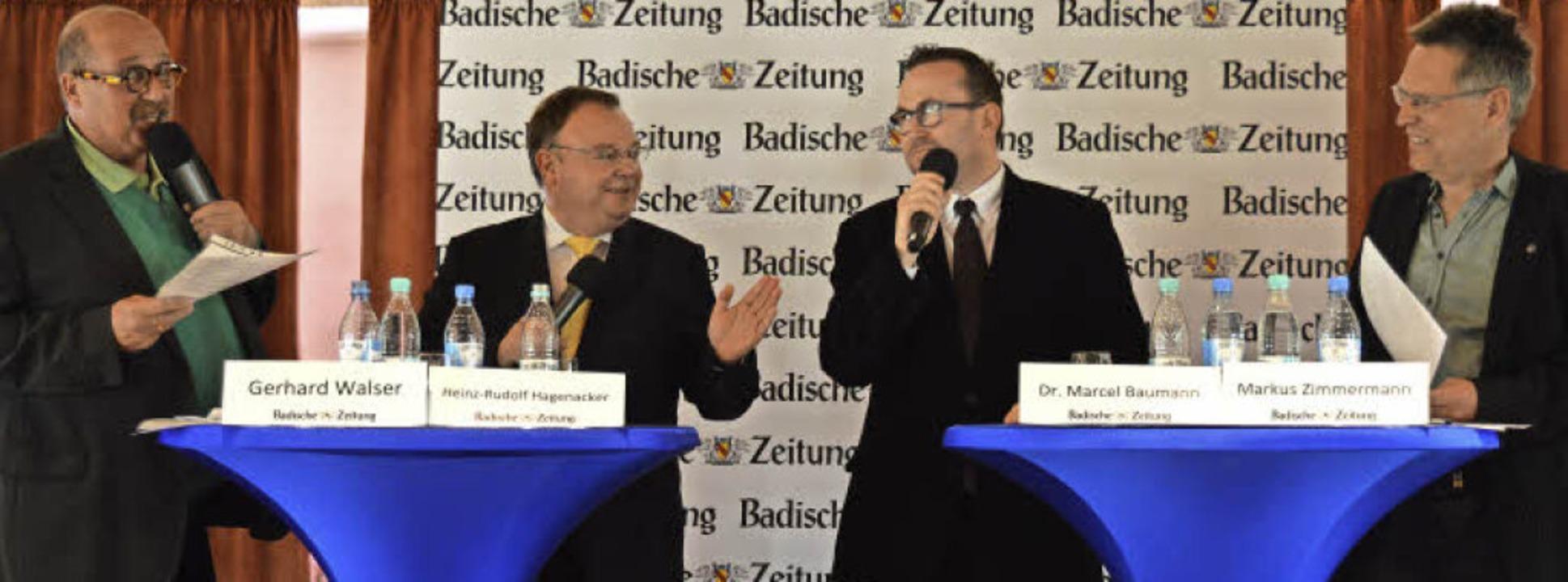 Im Gespräch (von links): Lokalchef Ger...sowie BZ-Mitarbeiter Markus Zimmermann    Foto: Lena Marie Jörger