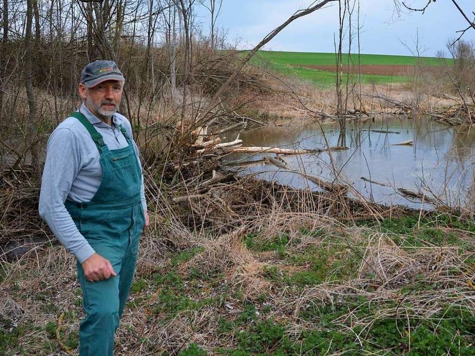 Landwirt Robert Wolf an einem Biberdamm  | Foto: Stefan Hupka