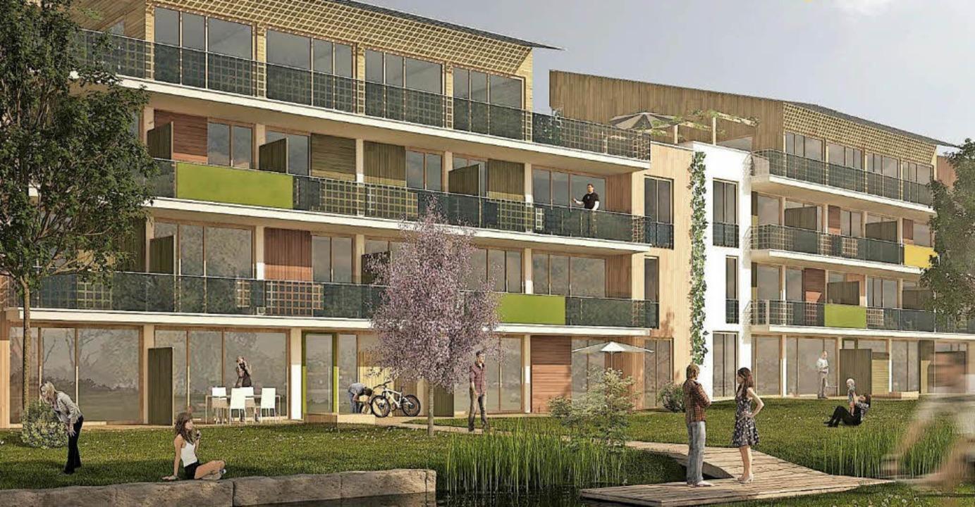 Der Entwurf des Architekten Rolf Disch für die Bebauung in den Weiermatten    | Foto: Visualisierung: Rolf Disch
