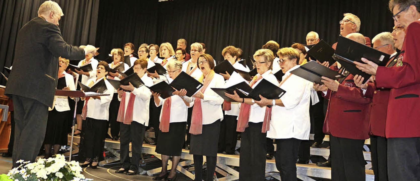 Die gastgebende MGV Chorgemeinschaft B...sen, die auf den Frühling einstimmten.  | Foto: Karin Heiß