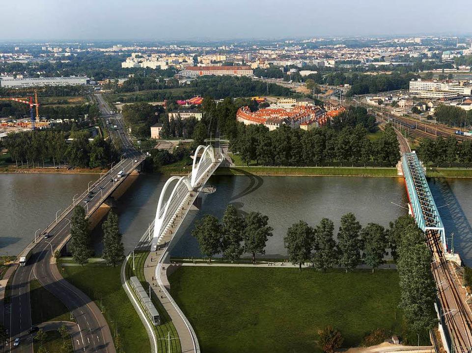 Drei Brücken nach Frankreich: Europa-B..., Straßenbahn und Fernbahn (von links)  | Foto: stadt kehl