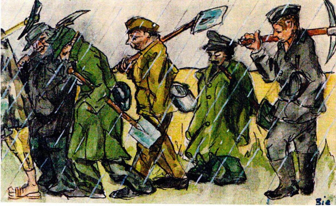 Illustrationen des Lageralltags in der russischen Kriegsgefangenschaft.  | Foto: privat