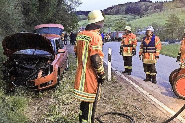 Unfall und Schwelbrand