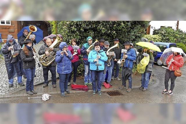 Musiker trotzen dem Regen