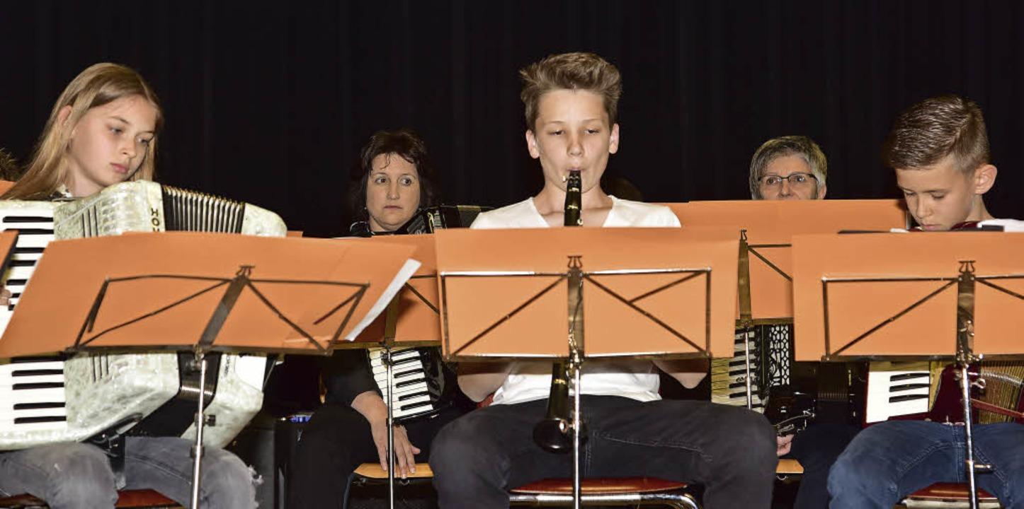 Daniel Riedel (Mitte) unterstützte das... Harmonika-Freunde an der Klarinette.   | Foto: Meidhof