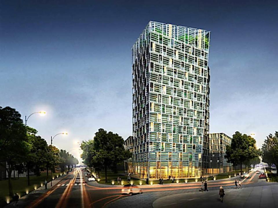 Am Eingang des Güterbahnhofgeländes soll der 51 Meter hohe Turm entstehen.   | Foto: Architekturbüro Frey