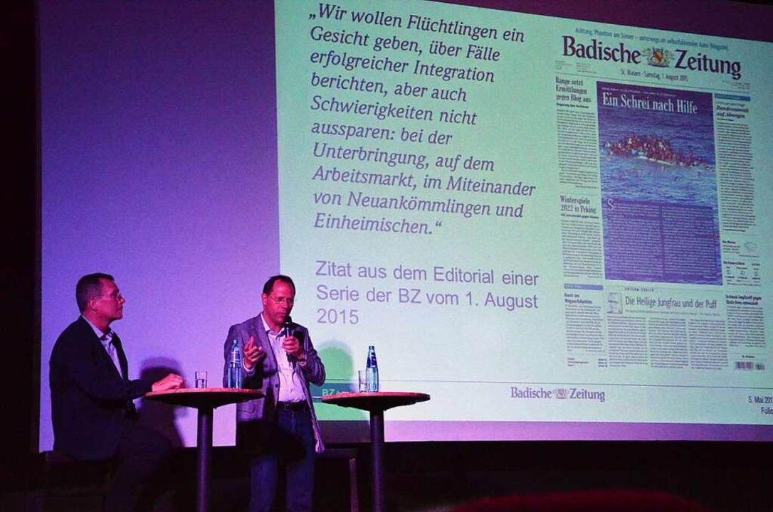 BZ-Chefredakteur Thomas Fricker (am Mi... Stellmach beantworteten Leserfragen.     Foto: Alexandra Wehrle