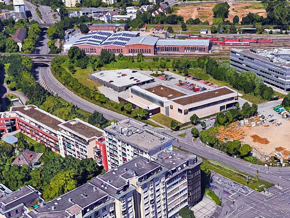 Auf dem Brachgrundstück an der Ecke Ba...uss der Bebauungsplan geändert werden.  | Foto: Google, Kartendaten: GeoDasis-DE/BKG