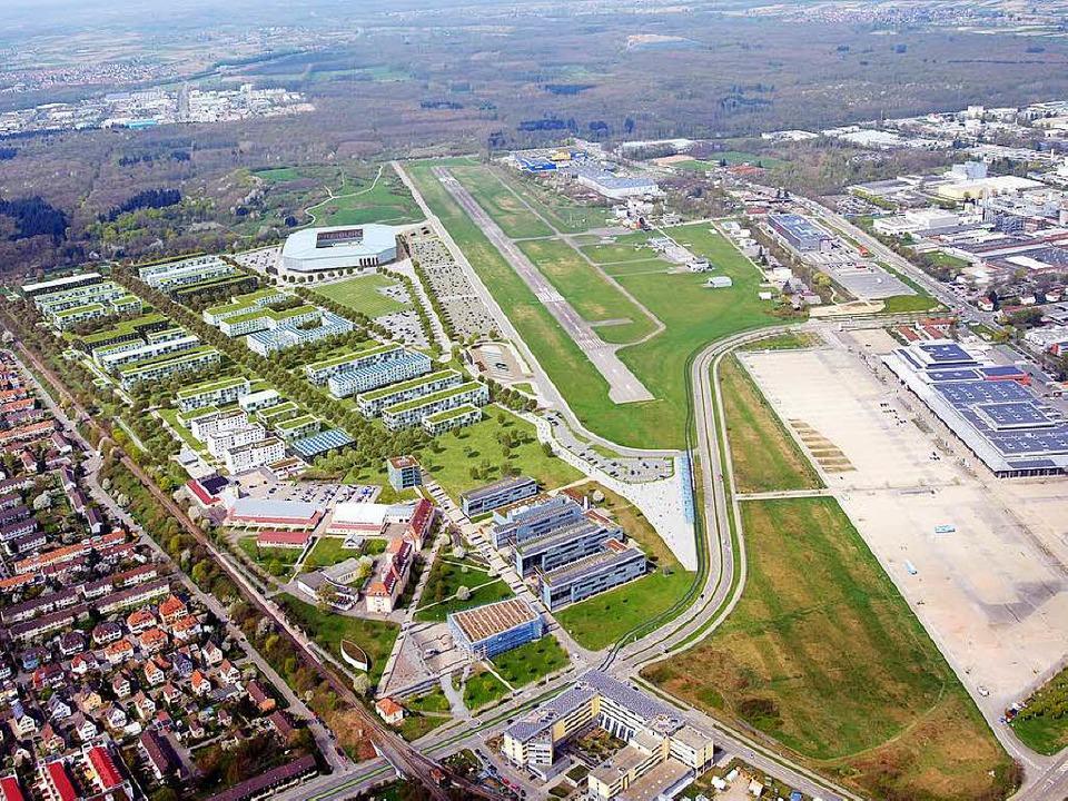 Bislang wird links der Landebahn mit d...che Art der Bebauung der 11. Fakultät.    Foto: HHVISION