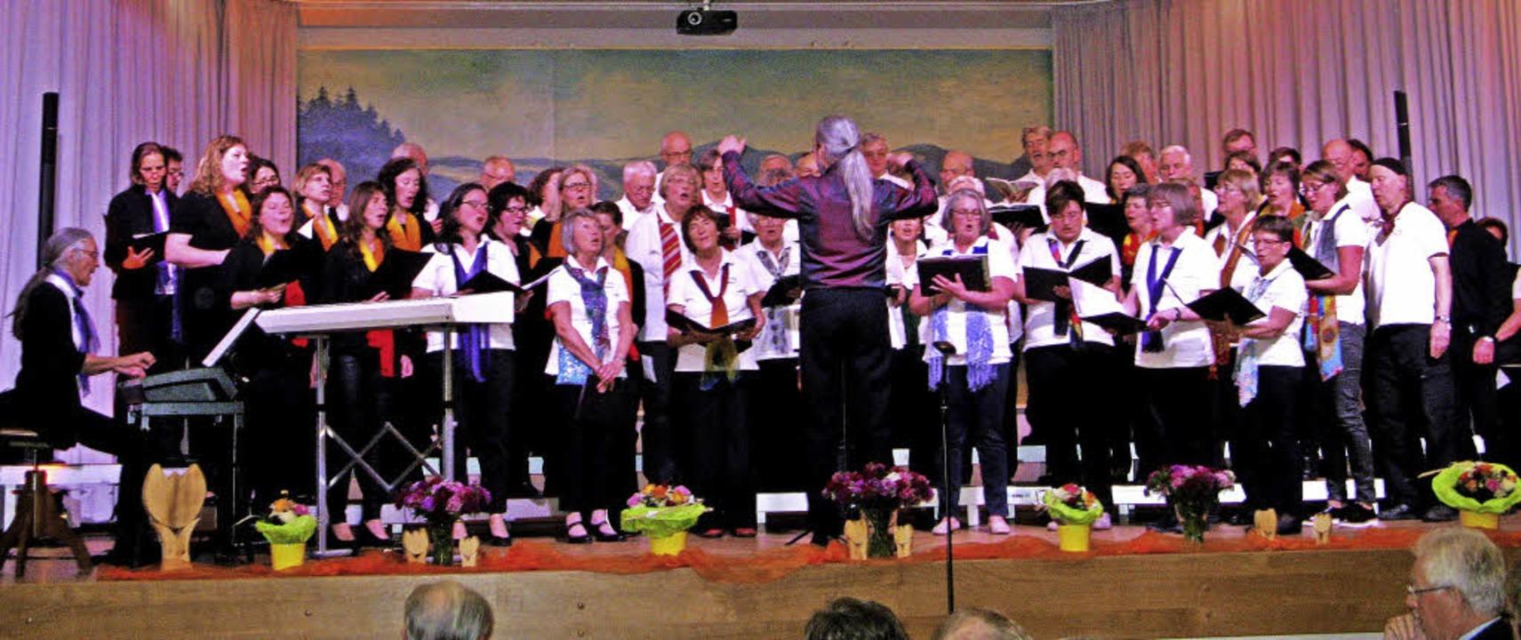 Der Gesamtchor, dirigiert von Heinz Zi...r begleitet von Ursula Wäschle-Weiger.  | Foto: Ulrike Spiegelhalter