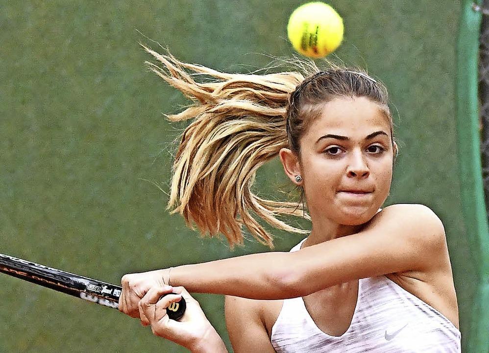 Tennis ist auch Kopfsache: Tania Mare vom TC Mengen.   | Foto: Achim Keller