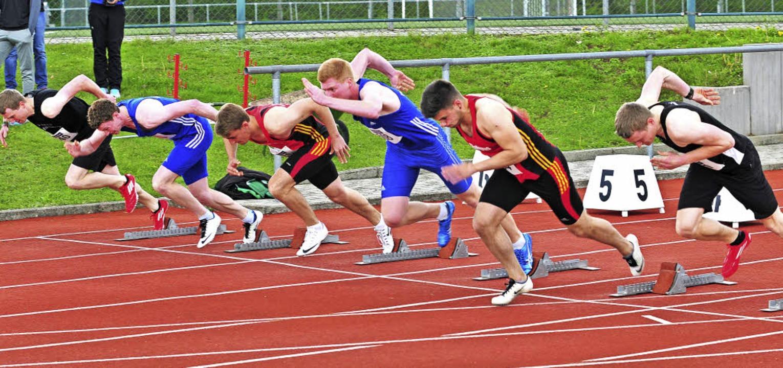 Punktejagd über  100 Meter: (von links...er, Silas Ketterer und Ralf Duttlinger    Foto: heiler
