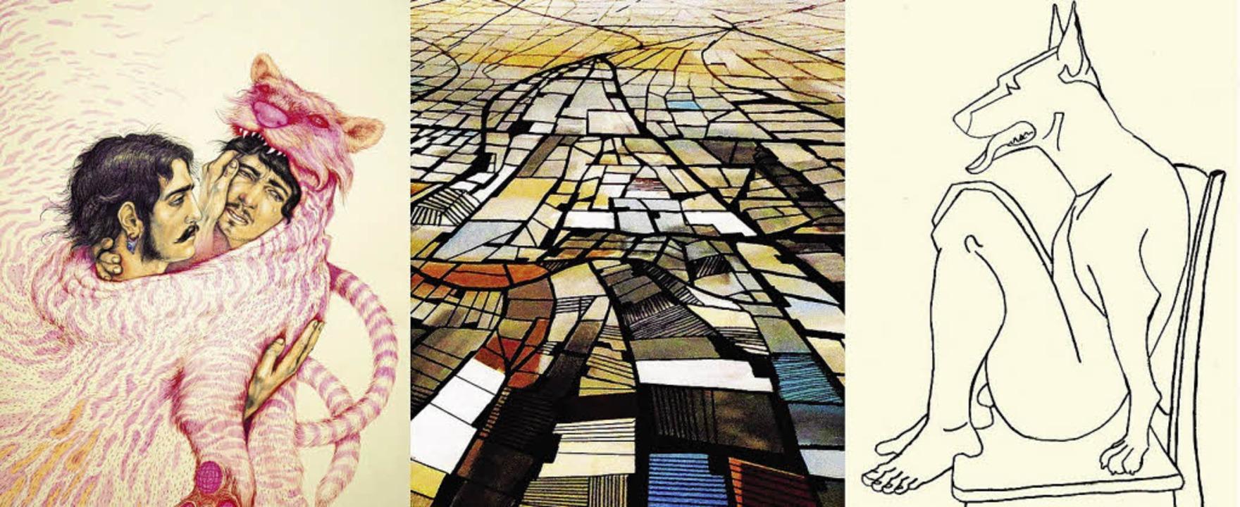"""Werke der Künstler: Von links Ana Belu... (aus """"Comics City Life"""").    Foto: Fotocollage: Ute Schöler"""