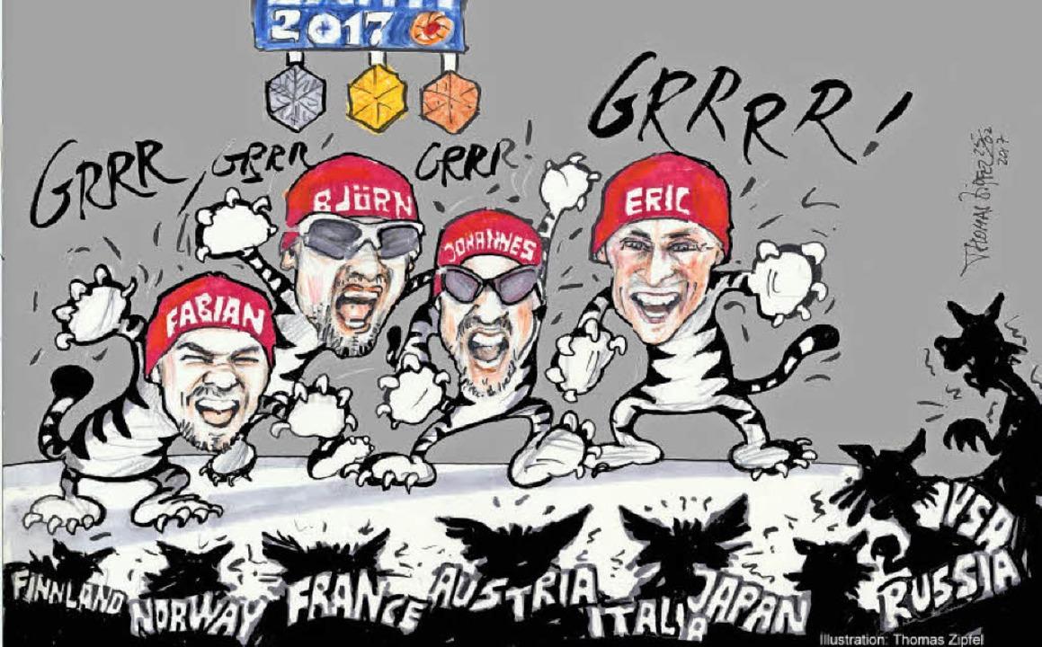 Fabian Rießle (links) bewies im Februa...t gewohnt spitzer Feder festgehalten.     Foto: cartoon: Thomas zipfel