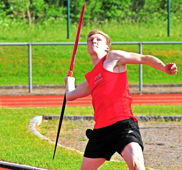 Warf in der Jugendklasse zweimal den S... 45 Meter: Sören Thor vom TuS Bonndorf  | Foto: Heiler