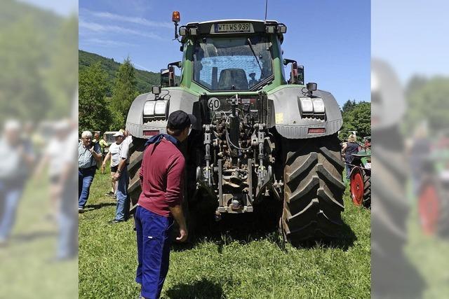 Traktor-Dinos auf dem heißen Acker