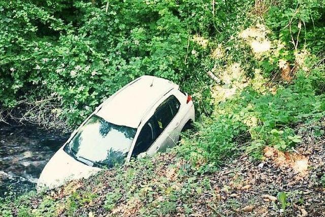 Weil am Rhein: Auto rollt in Entwässerungsgraben