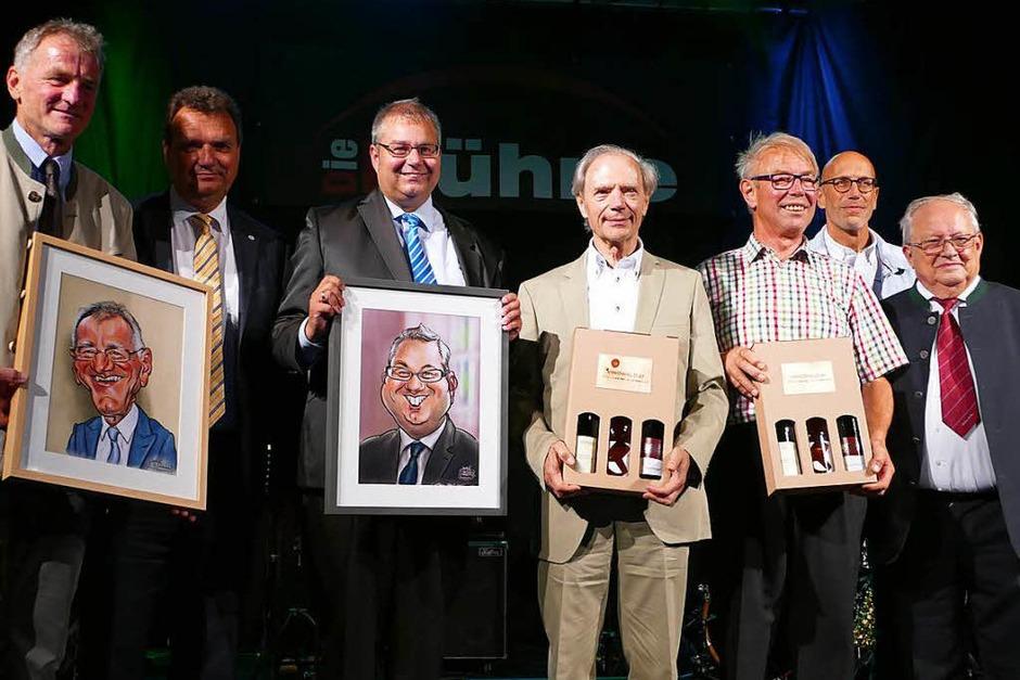 Bürgermeister und Altbürgermeister (von links) Michael Fahrnberger (Göstling), Karl Schlögl (Purkersdorf), Alexander Guhl und Günther Nufer (Bad Säckingen), Franz Heigl (Göstling), Martin Weissbrodt  (Bad Säckingen) und Viktor Gusel (Göstling) (Foto: Axel Kremp)