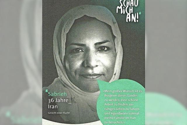 Plakative Ausstellung über Flüchtlinge
