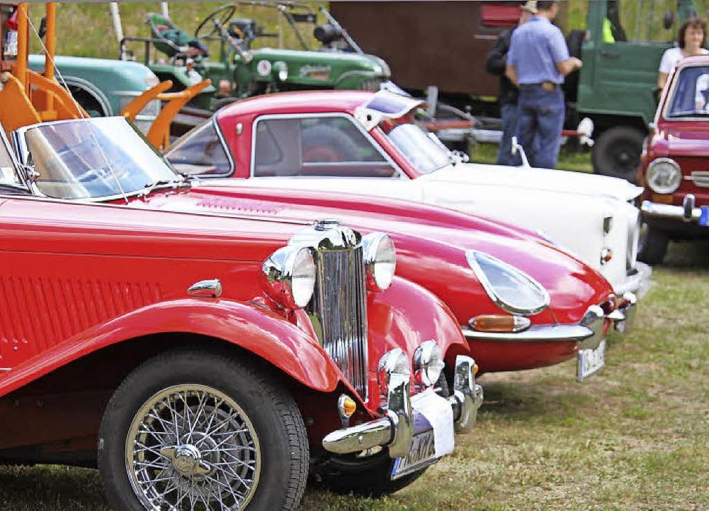 Raritäten auf zwei und vier Rädern zog...licke auf sich, rechts die BMW Isetta.    Foto: Gert Brichta