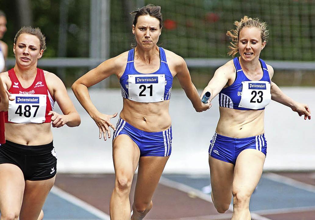 Und hepp: Sprinterin Cornelia Wülbeck ...r 4x100 Meter der Frauen in Mannheim.   | Foto: Görlitz