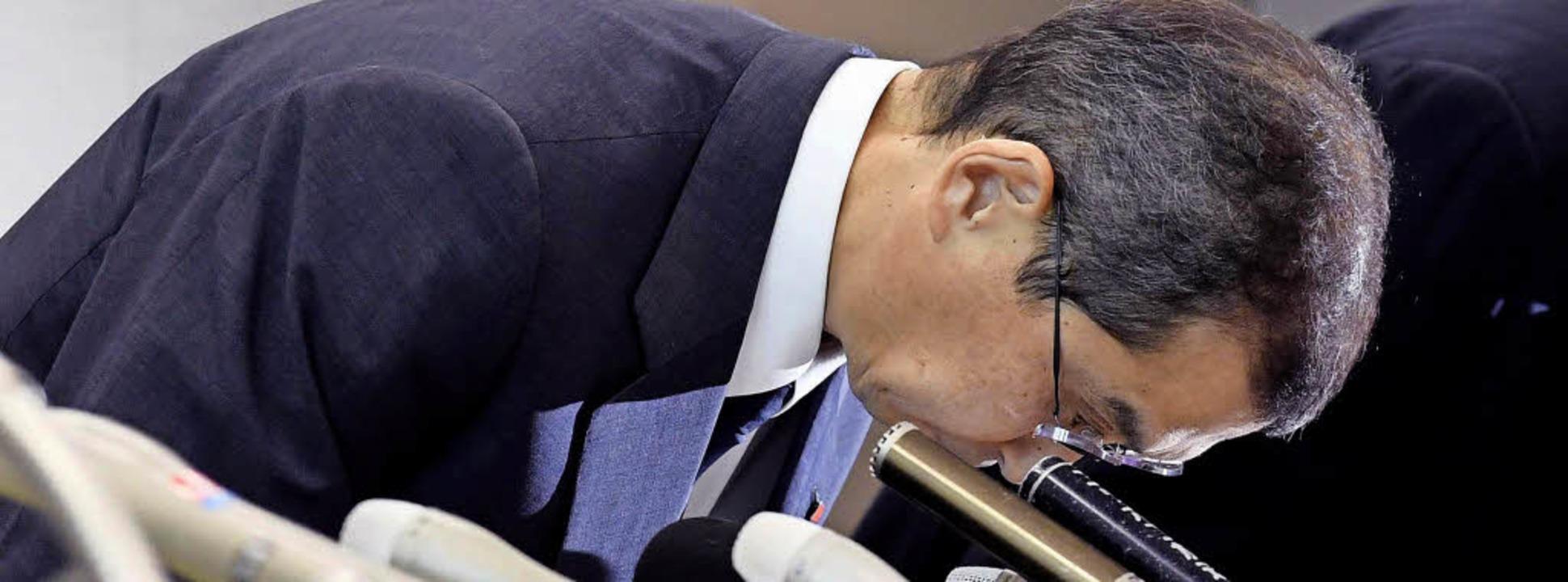Shigehisa Takada, der Geschäftsführer ...enz des Unternehmens angekündigt hat.     Foto: DPA