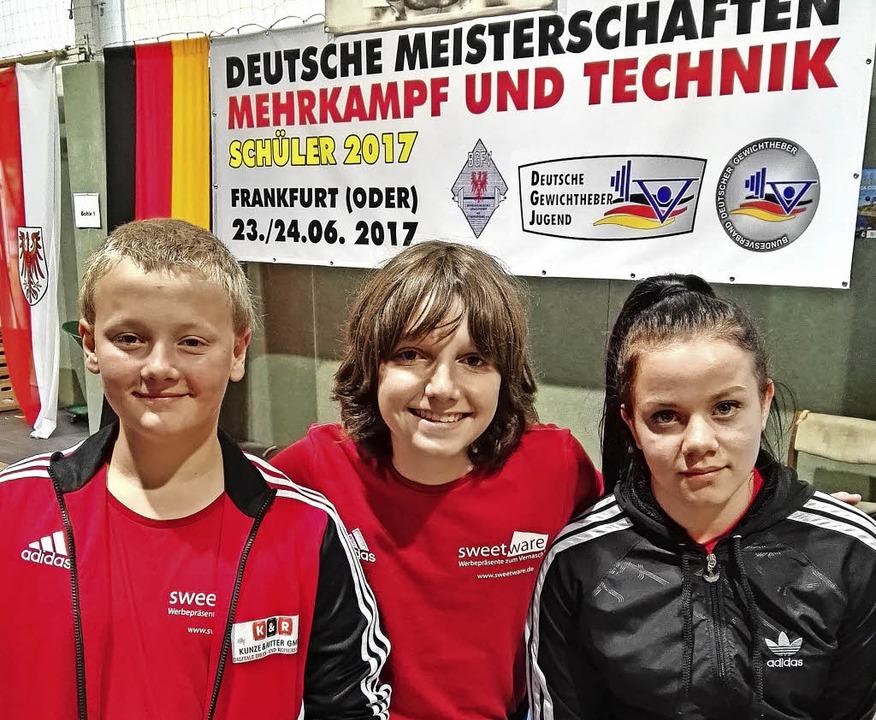 Stolzer Hebernachwuchs (von links): Ha...schen Schülermeisterschaft ihr Können.    Foto: weisser