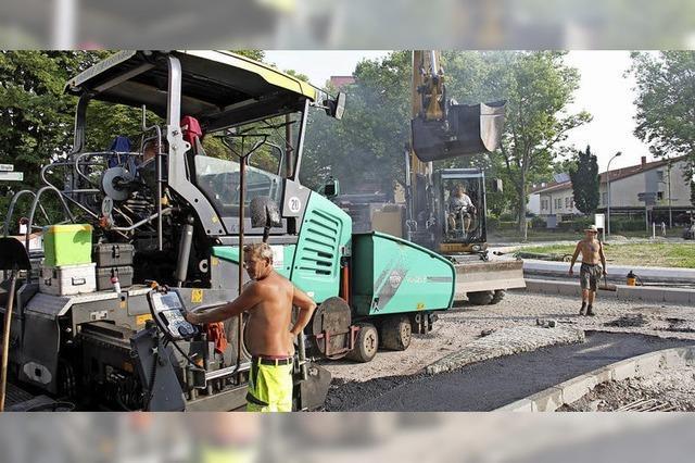 Arbeiten am Kreisel an der Ortenberger Straße kommen schnell voran