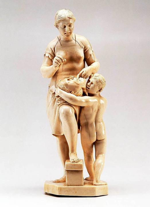 Die 2016 gestohlene Skulptur zeigt  Fu...mit dem abgetrennten Kopf des Cicero.   | Foto: Goldschmidt – Badisches Landesmuseum Karlsruhe (dpa)