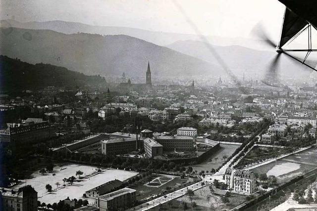 Luftbild aus einem Zeppelin: Freiburg von oben im Jahr 1912