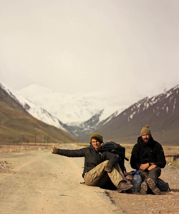 Trampen auf 3000 Meter: Gwen Weisser und Patrick Allgaier   | Foto: Privat