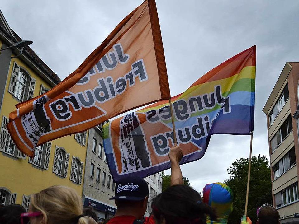 Die CSD-Parade in der Freiburger Innenstadt am Samstag vor einer Woche.  | Foto: Linn-Marie Hahn