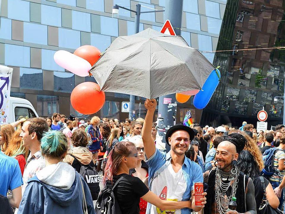 Die CSD-Parade in der Freiburger Innenstadt am Samstag vor einer Woche.  | Foto: Rita Eggstein