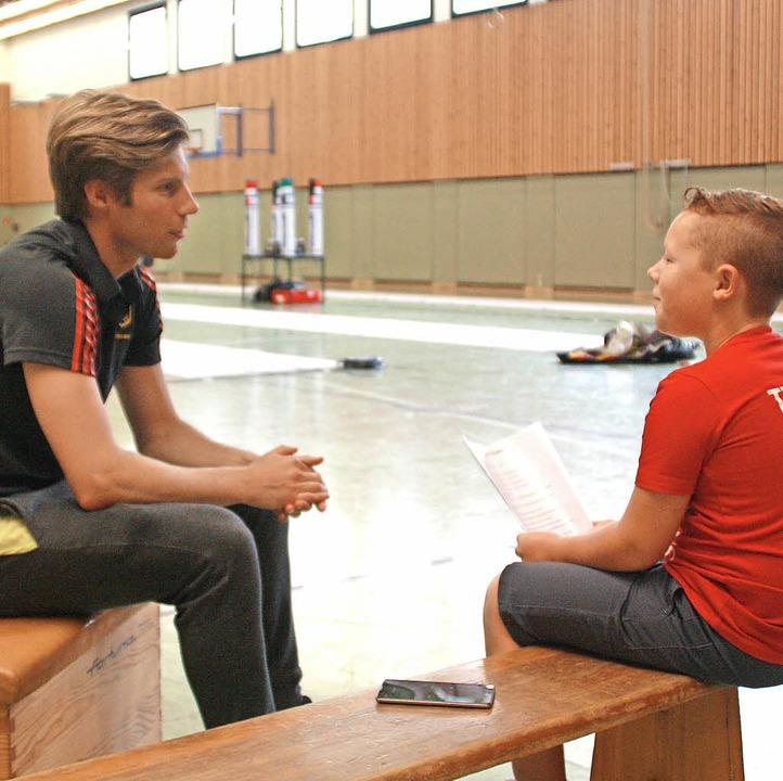 Max Maletz und der Weltmeister: Nach dem Interview gab es noch ein Gefecht.   | Foto:  Anke Maletz
