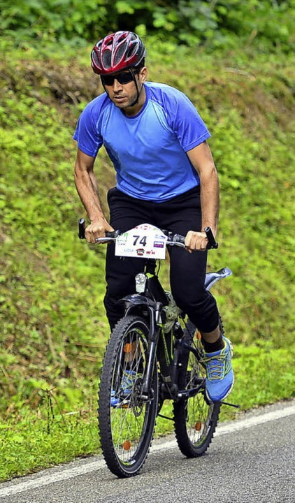 Mit dem Mountainbike war Abdullah Alfandi unterwegs.   | Foto: Thoma