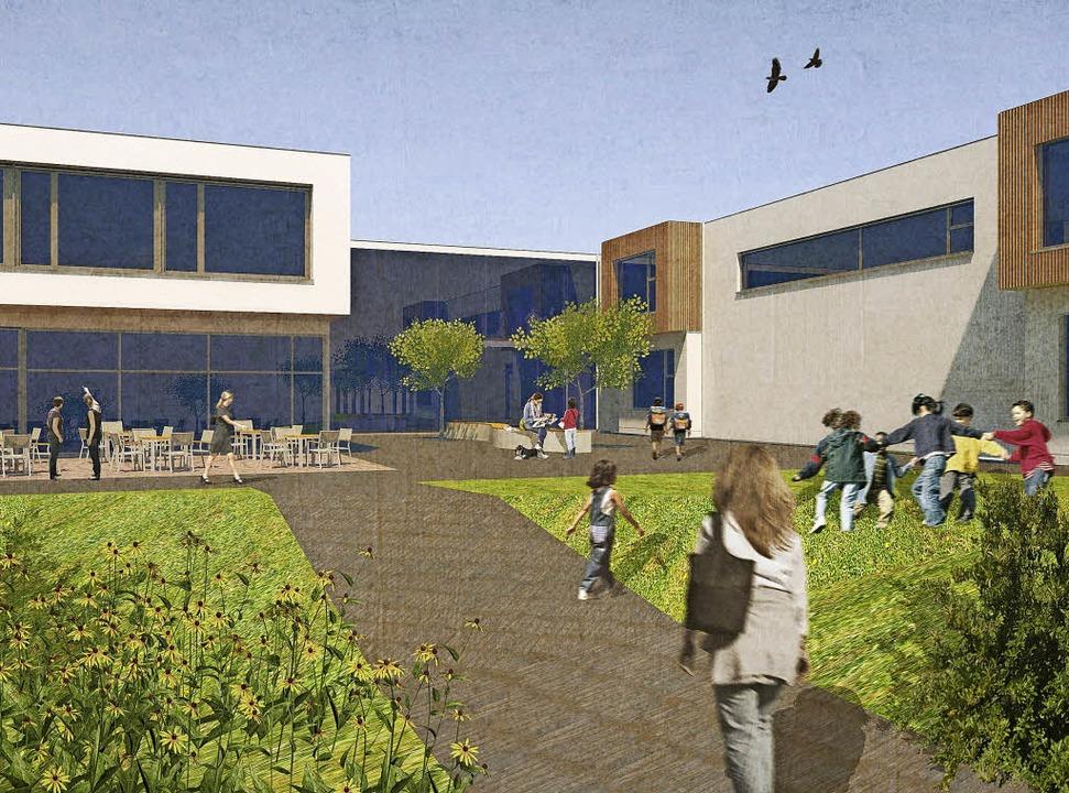 So soll die neue Schule einmal aussehe...mit den Klassen- und Betreuungsräumen     Foto: Visualisierung: Architekturbüro Höfler&Stoll