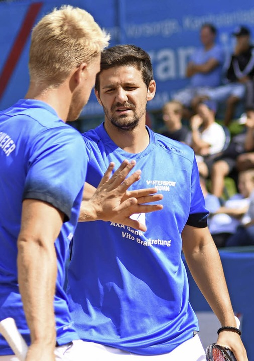 Adrian Obert (links) und Denis Kapric im Doppel.  | Foto: Sebastian Koehli
