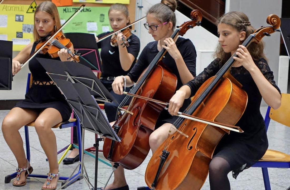 Das jugendliche Streichorchester der M...ommerkonzert mit dynamischem Schwung.   | Foto: Roswitha Frey