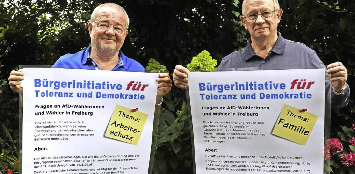 Aufklären, welche Ziele die AfD verfol... mit zwei der insgesamt zwölf Plakaten  | Foto: Markus Zimmermann