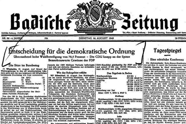 Bundestagswahl 1949: Auszüge aus der BZ-Berichterstattung