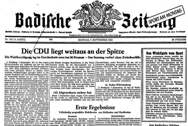 Bundestagswahl 1953: Auszüge aus der BZ-Berichterstattung