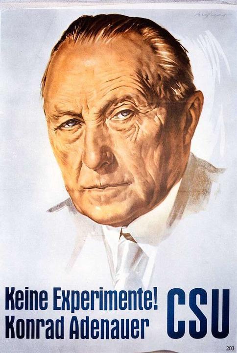 Mit diesem Plakat warb auch die bayeri...ng ging auf: Kantersieg für   die CDU   | Foto: akg